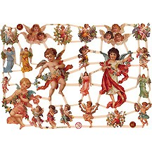Angels and Flower Garland Scraps ~ Germany